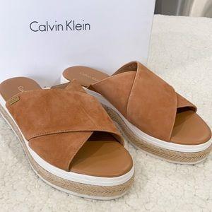 New: Calvin Klein Platform Sandals Nude Suede